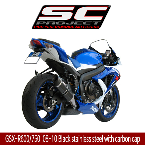 SC프로젝트 GSX-R600/750 '08-10 Short Oval-line silencer Black stainless steel with carbon cap