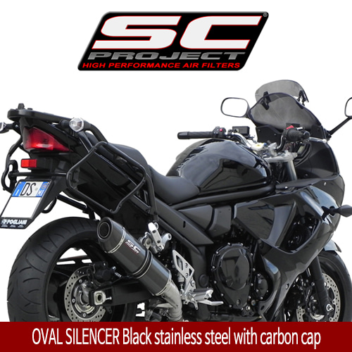 SC프로젝트 GSX1250F TRAVELLER OVAL SILENCER Black stainless steel with carbon cap