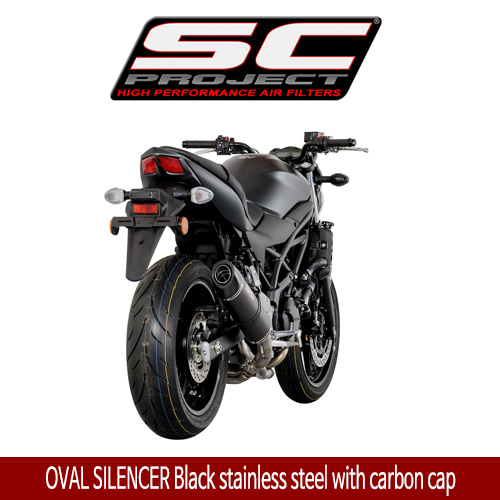 SC프로젝트 SV650 ABS/A OVAL SILENCER Black stainless steel with carbon cap