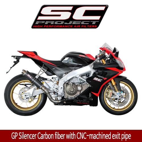 SC프로젝트 APRILIA RSV4 FACTORY/R/APRC '09-14 GP Silencer Carbon fiber with CNC-machined exit pipe
