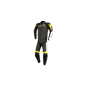 알파인스타 슈트, 가죽 슈트, 투피스 슈트 Alpinestars Challenger V2 Two Piece Leather Suit (Black/White/Yellow)