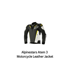 알파인스타 자켓, 가죽 자켓 Alpinestars Atem 3 Motorcycle Leather Jacket (Black/White/Yellow)