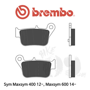 Sym Maxsym 400 12-, Maxsym 600 14- 리어용 브레이크 패드 브렘보 신터드