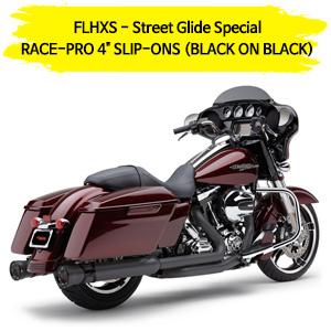 "(14-16) RACE-PRO 4"" (BLACK ON BLACK) 슬립온 할리 머플러 코브라 베거스 스트리트 글라이드 스페셜"