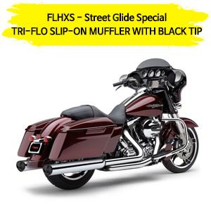 TRI-FLO (BLACK TIP) 슬립온 할리 머플러 코브라 베거스 스트리트 글라이드 스페셜 (14-16)