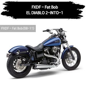 (08-11) EL DIABLO 2-INTO-1 풀시스템 할리 머플러 코브라 다이나 팻 밥