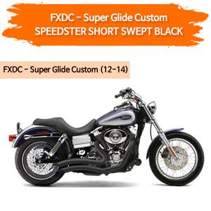 (12-14) 스피드스터 SHORT SWEPT BLACK 할리 머플러 코브라 다이나 슈퍼 글라이드 커스텀 풀시스템