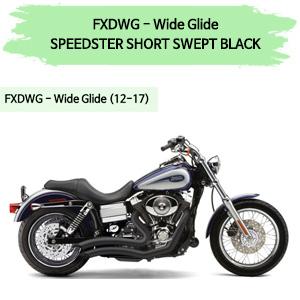 12-17 코브라 다이나 와이드 글라이드 스피드스터 SHORT SWEPT BLACK 풀시스템 할리 머플러