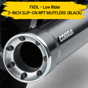 (95-09) BLACK 슬립온 머플러 3-INCH RPT 할리 코브라 다이나 로우 라이더