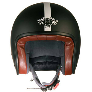 Cafe Racer Jet Helmet Black Matt/White