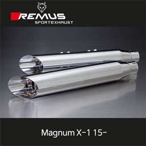 레무스 매그넘 X-1 15-빅토리 좌/우 Ø102mm (4인치) 커스텀 Slash cut 크롬 EEC 슬립온 아크라포빅