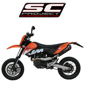 SC프로젝트 KTM 690 SMC/ENDURO Short Oval silencer Black stainless steel with carbon cap