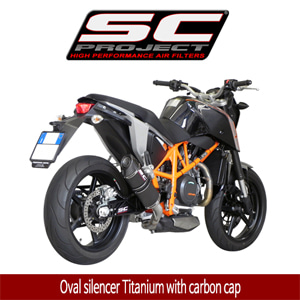 SC프로젝트 KTM 690 DUKE '12-16 Oval silencer Titanium with carbon cap