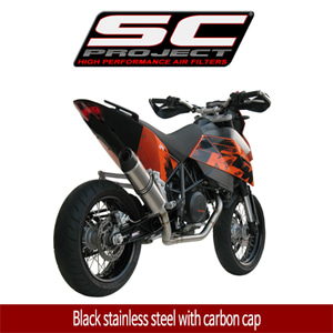 SC프로젝트 KTM 690 SM Full system 1-1 with Oval-line silencer Black stainless steel with carbon cap