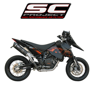 SC프로젝트 KTM 690 SM Full system 1-1 with Oval-line silencer in high position Black stainless steel with carbon cap