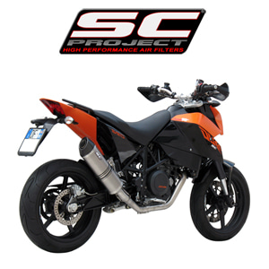 SC프로젝트 KTM 690 DUKE '08-11 Full system 1-1 with Oval-line silencer Titanium with carbon cap