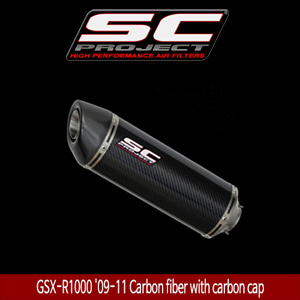 SC프로젝트 GSX-R1000 '09-11 Short Oval-line single silencer Carbon fiber with carbon cap