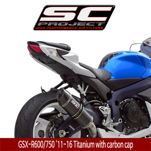 SC프로젝트 GSX-R600/750 '11-16 Oval silencer Titanium with carbon cap