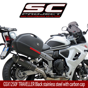 SC프로젝트 GSX1250F TRAVELLER OVAL SILENCER COMPATIBLE WITH ORIGINAL BAGS Black stainless steel with carbon cap