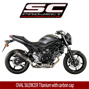 SC프로젝트 SV650 ABS/A OVAL SILENCER Titanium with carbon cap