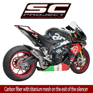 SC프로젝트 APRILIA RSV4 RF/RR '15-16 CR-T Silencer Carbon fiber with titanium mesh on the exit of the silencer