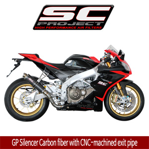 SC프로젝트 APRILIA RSV4 FACTORY/R/APRC '09-14 GP Silencer Carbon fiber with CNC-machined exit pipe