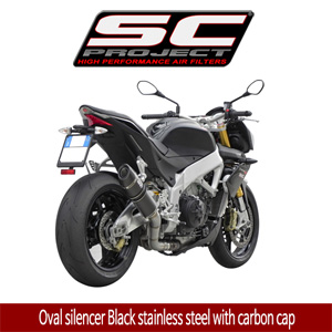 SC프로젝트 APRILIA TUONO V4 APRC '11-14 Oval silencer Black stainless steel with carbon cap
