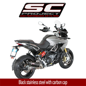 SC프로젝트 APRILIA CAPONORD 1200 Oval Silencer Black stainless steel with carbon cap
