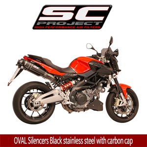 SC프로젝트 APRILIA SHIVER 750 OVAL Silencers Black stainless steel with carbon cap