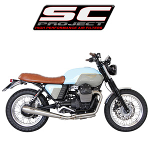 SC프로젝트 MOTO GUZZI V7 Full system 2-1 with conic silencer Stainless steel