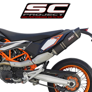 SC프로젝트 KTM 690 SMC R '12-17 Short Oval silencer Black stainless steel with carbon cap