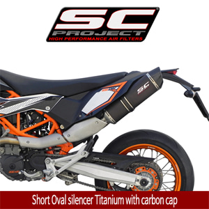 SC프로젝트 KTM 690 SMC R '12-17 Short Oval silencer Titanium with carbon cap